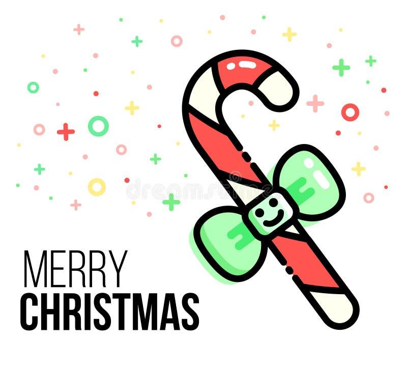 Cartão do Natal do vetor Bastão de doces doce com curva verde Deleite do Xmas, vara do açúcar Linha estilo lisa Ano novo ilustração do vetor