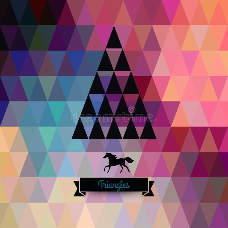 Cartão do Natal do vetor triângulos Árvore de Natal Hipst ilustração stock