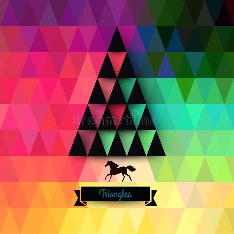 Cartão do Natal do vetor triângulos Árvore de Natal Hipst ilustração royalty free