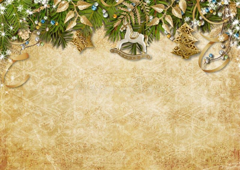 Cartão do Natal do vintage no fundo de papel com GA bonito ilustração stock