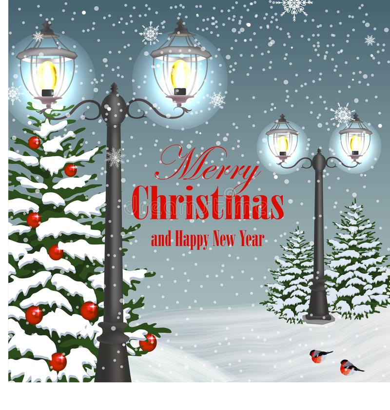 Cartão do Natal e do ano novo ilustração stock