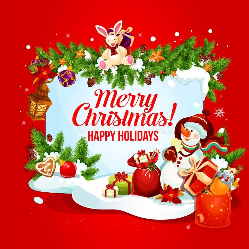 Cartão do Natal e do ano novo com presente e boneco de neve ilustração royalty free