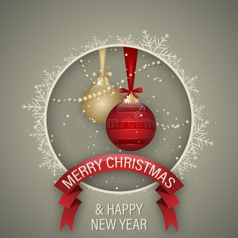 Cartão do Natal e do ano novo feliz com vermelho e bola do Natal do ouro, curvas, fita, estrelas, neve e floco de neve branco do  ilustração royalty free