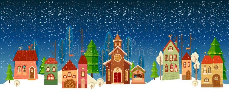 Cartão do Natal e do ano novo Igreja Árvore ilustração stock