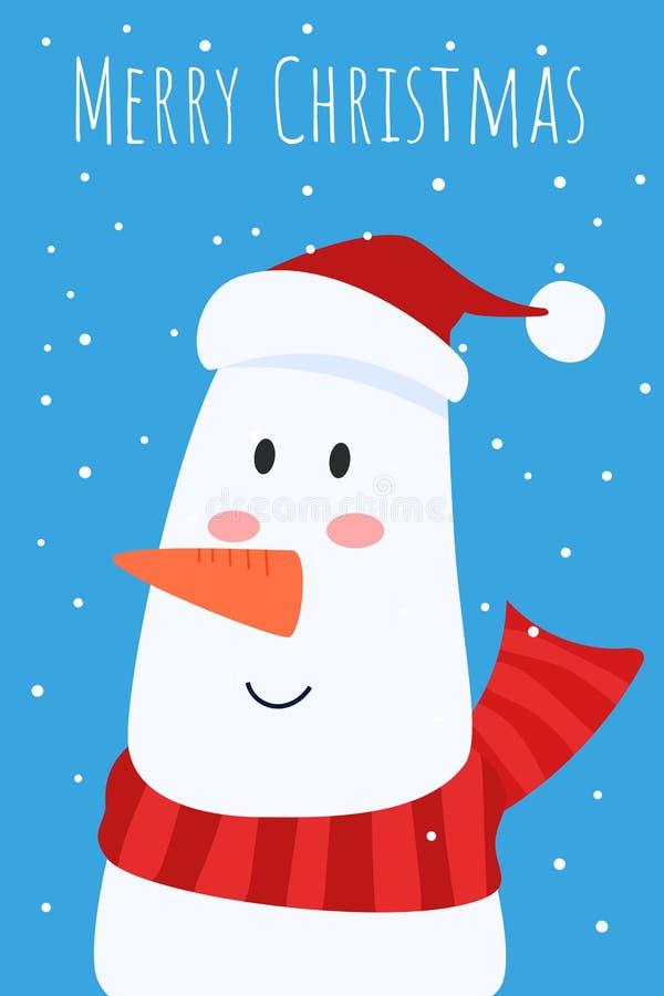 Cartão do Natal e boneco de neve bonito com caráter vermelho do lenço e do tampão dos santa's Feliz Natal e ano novo feliz cart ilustração stock