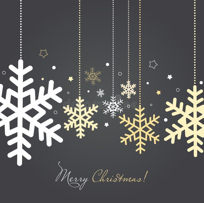 Cartão do Natal e do ano novo com flocos de neve ilustração royalty free