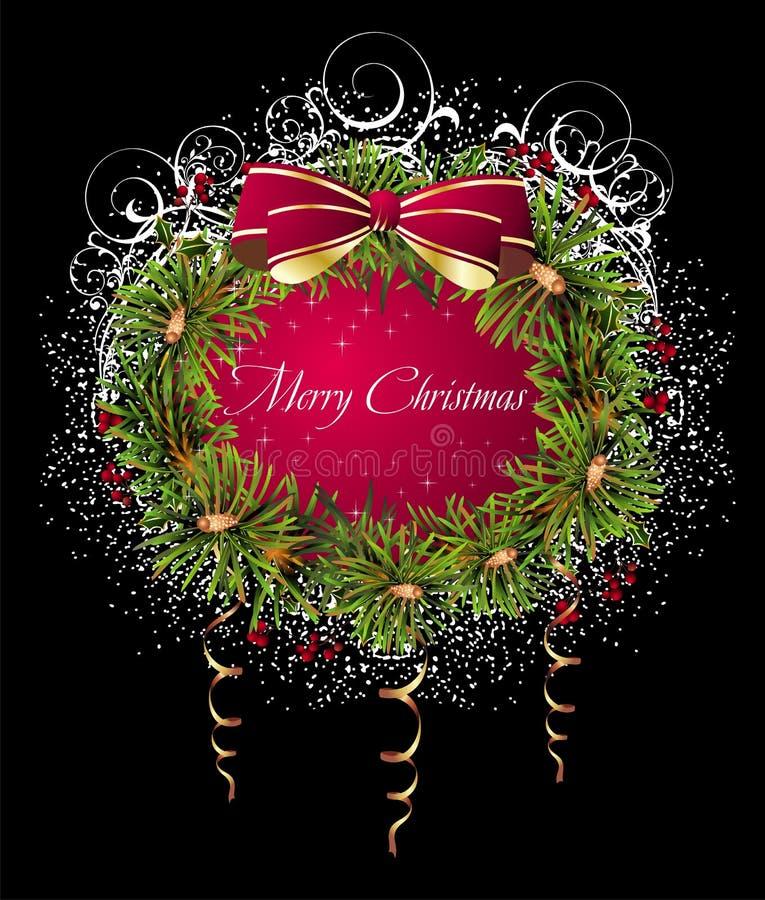 Cartão do Natal e do ano novo com grinalda ilustração royalty free