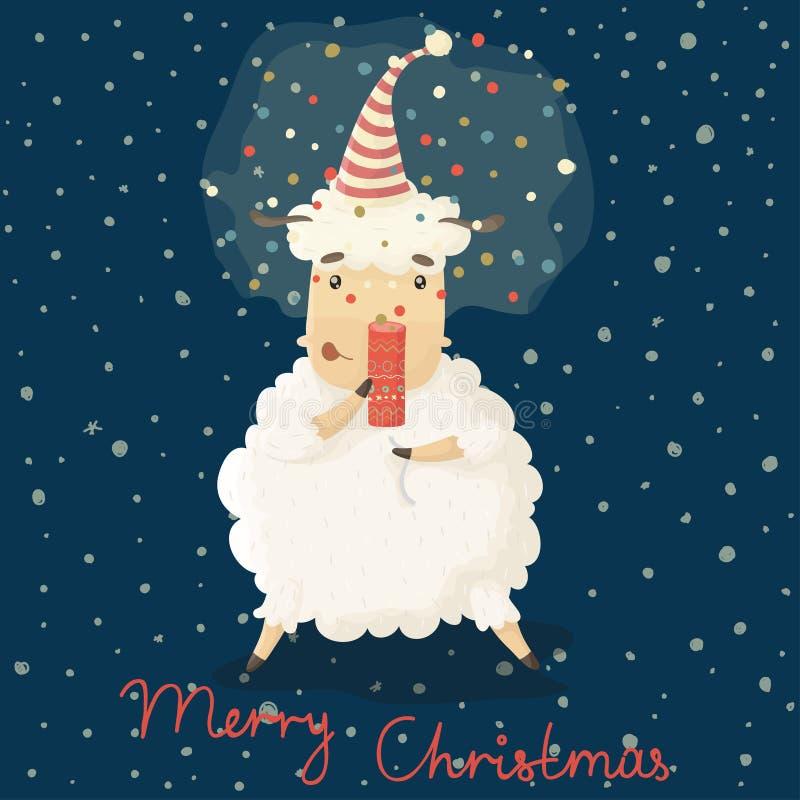 Cartão do Natal e do ano novo com os carneiros bonitos dos desenhos animados ilustração do vetor