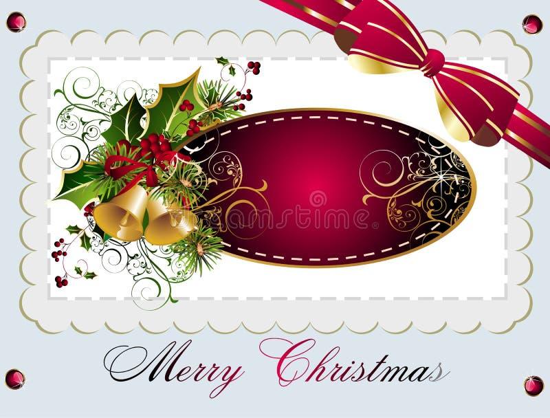Cartão do Natal e do ano novo com sinos ilustração royalty free