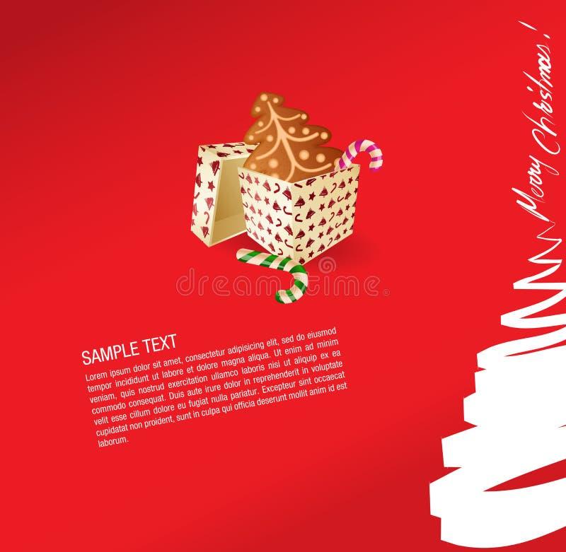 Cartão do Natal - presente, doce e ginge ilustração do vetor