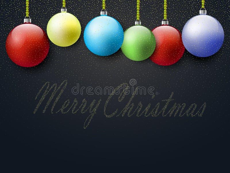 Cartão do Natal, projeto de bolas do Natal com confetes dourados do brilho ilustração stock