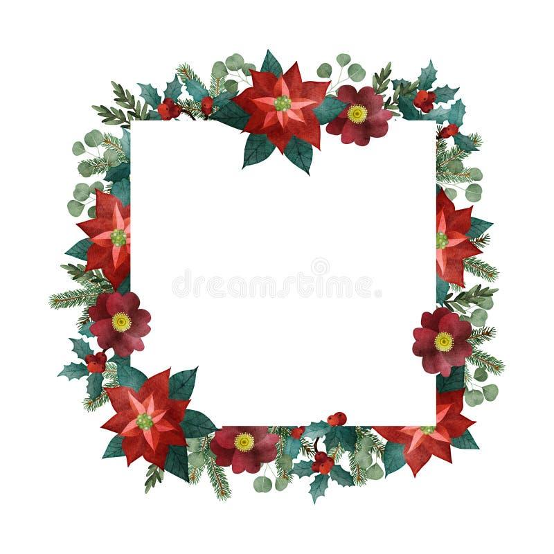 Cartão do Natal do vintage, convite Quadro quadrado da aquarela, beira Árvore de abeto, ramos do eucalipto, poinsétia ilustração stock