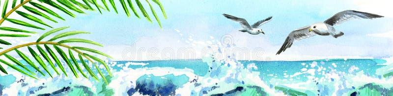 Cartão do oceano da aquarela ilustração do vetor