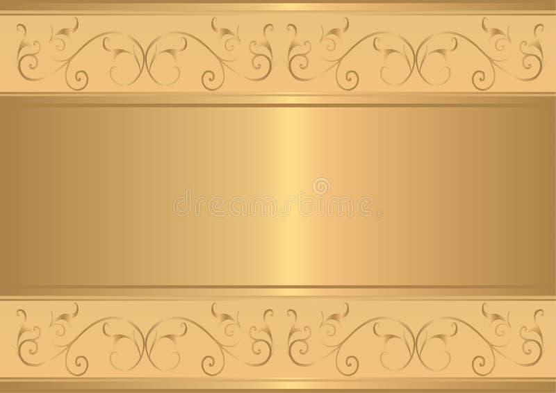 Cartão do ouro com projeto floral do ouro ilustração royalty free