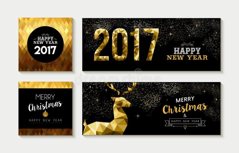 Cartão 2017 do ouro do Feliz Natal e grupo da bandeira ilustração do vetor