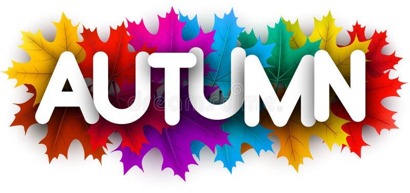 Cartão do outono com as folhas de bordo coloridas bonitas ilustração do vetor