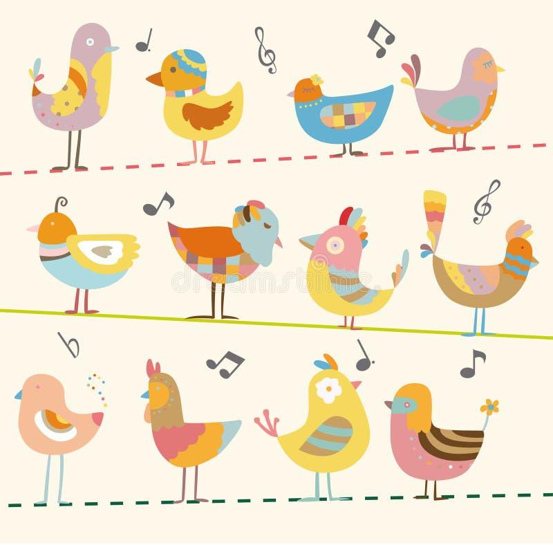 Cartão do pássaro dos desenhos animados ilustração stock