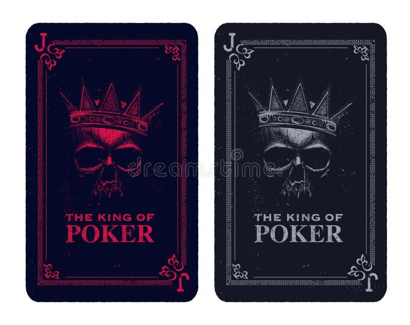 Cartão do pôquer do crânio ilustração stock