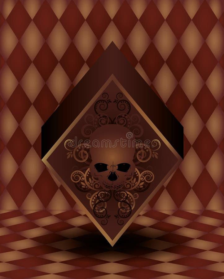 Cartão do pôquer dos diamantes do vintage ilustração do vetor
