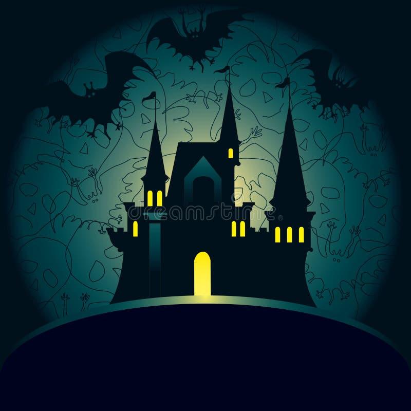 Cartão do palácio de Halloween ilustração royalty free
