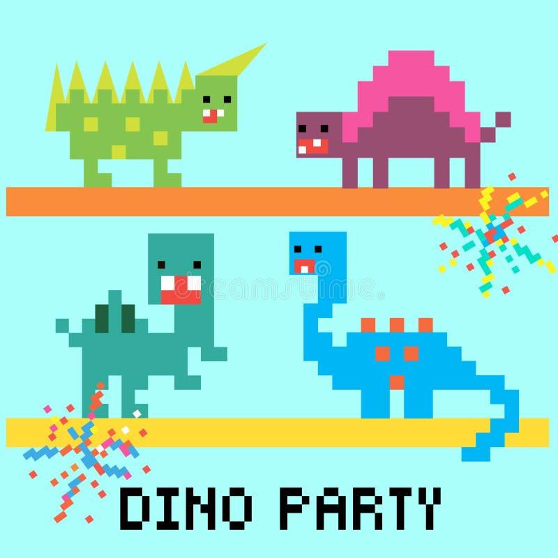Cartão do partido de Dino ilustração stock