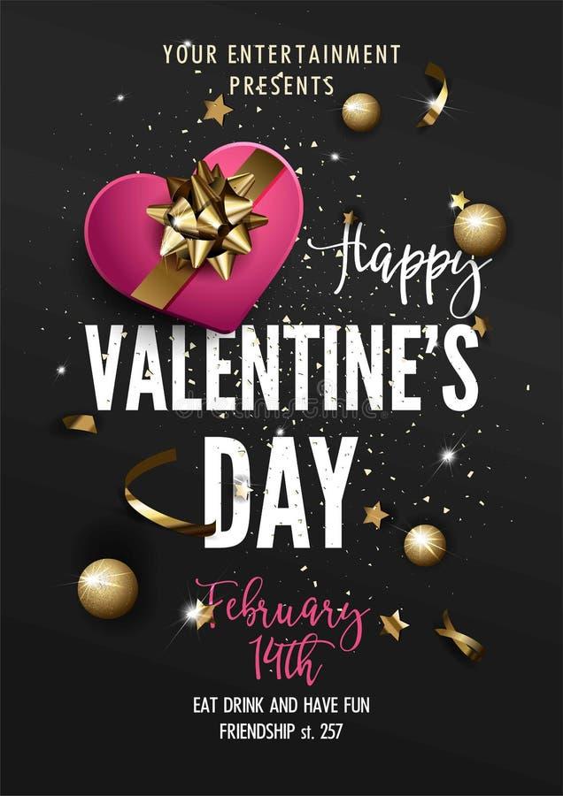 Cartão do partido do dia de Valentim ou molde do inseto ilustração stock