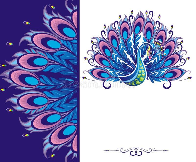 Cartão do pavão ilustração do vetor