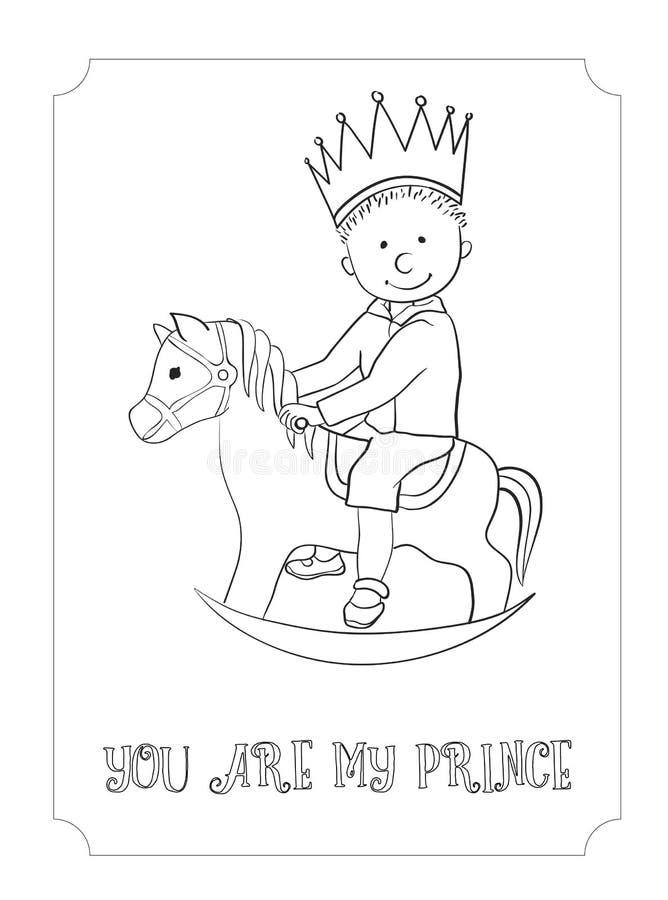 Cartão do príncipe do esboço dos desenhos animados da criança para colorir ilustração stock