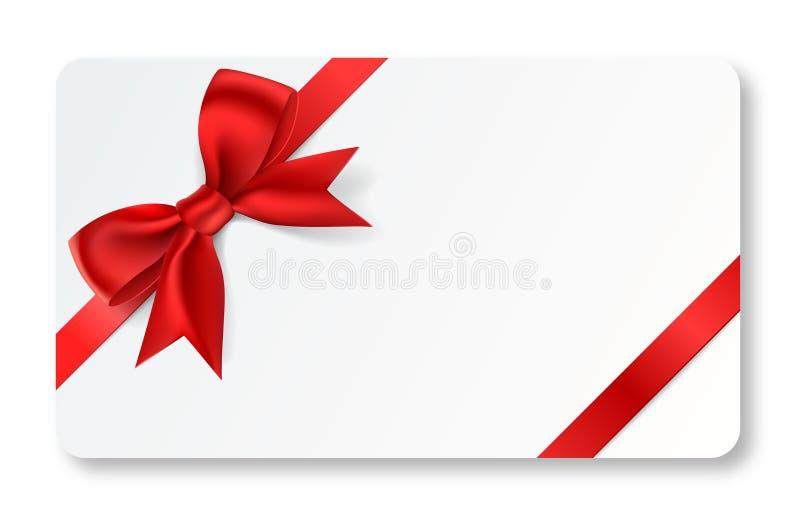Cartão do presente com fita vermelha ilustração royalty free