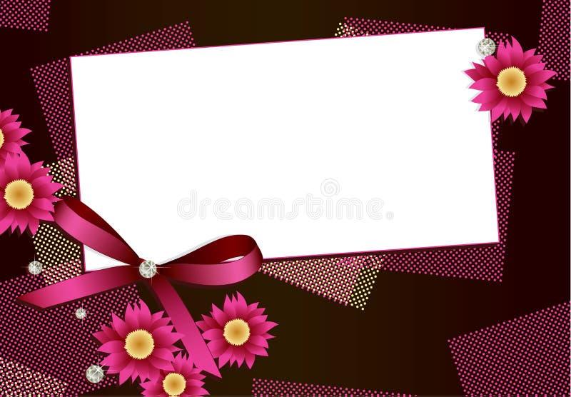 Cartão do presente com flores, diamantes e fita ilustração royalty free