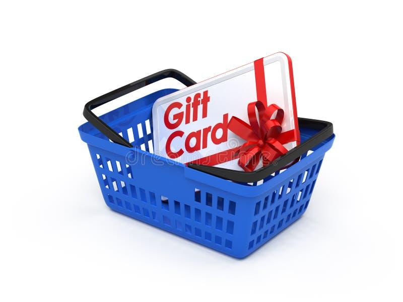 Cartão do presente em uma cesta de compra ilustração do vetor