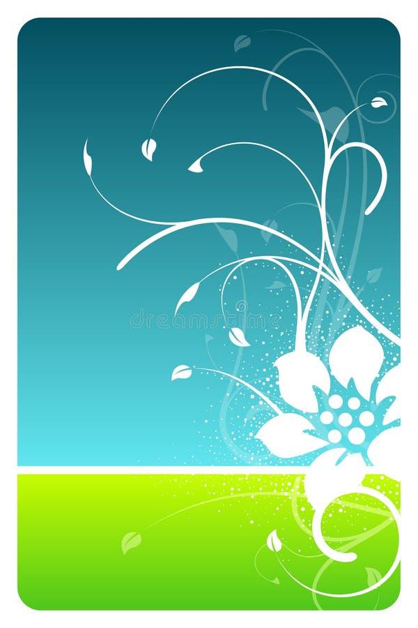 Cartão do projeto floral do céu e da grama ilustração do vetor