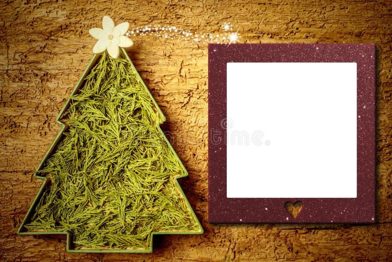 Cartão do quadro da foto da árvore de Natal imagens de stock
