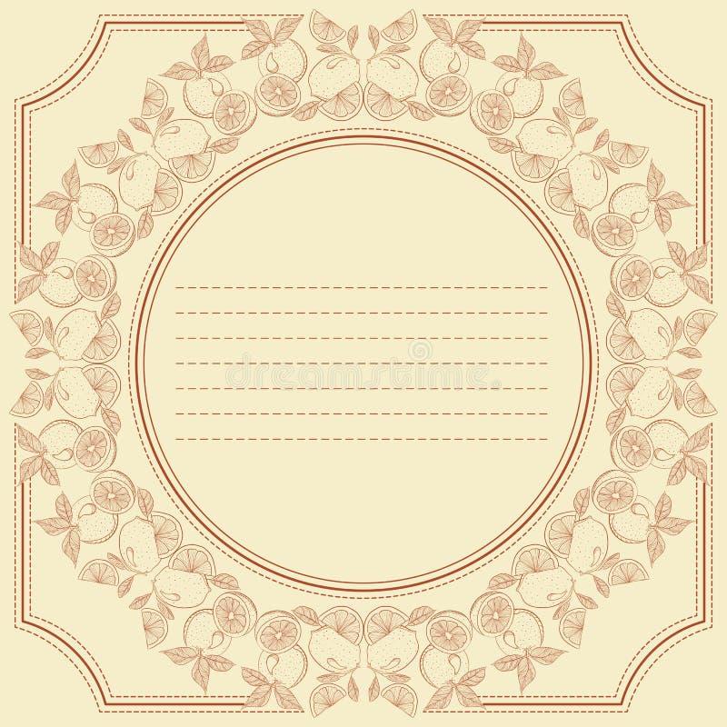 Cartão do quadro do vintage com citrinas ilustração do vetor