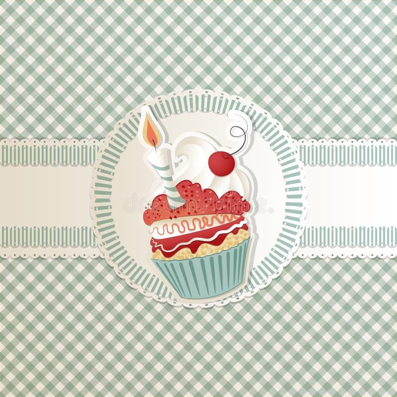 Cartão do queque ilustração royalty free