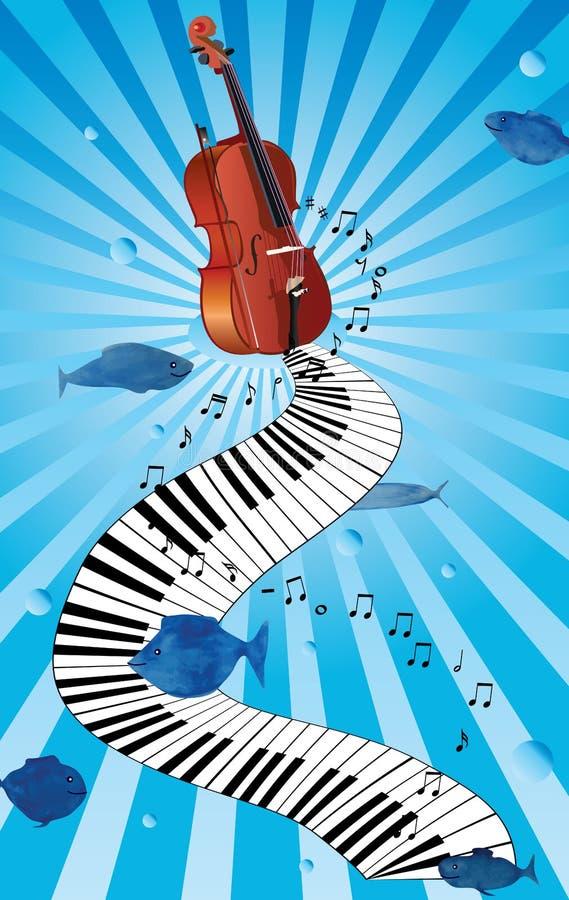 Cartão do redemoinho do violino do piano da música ilustração royalty free