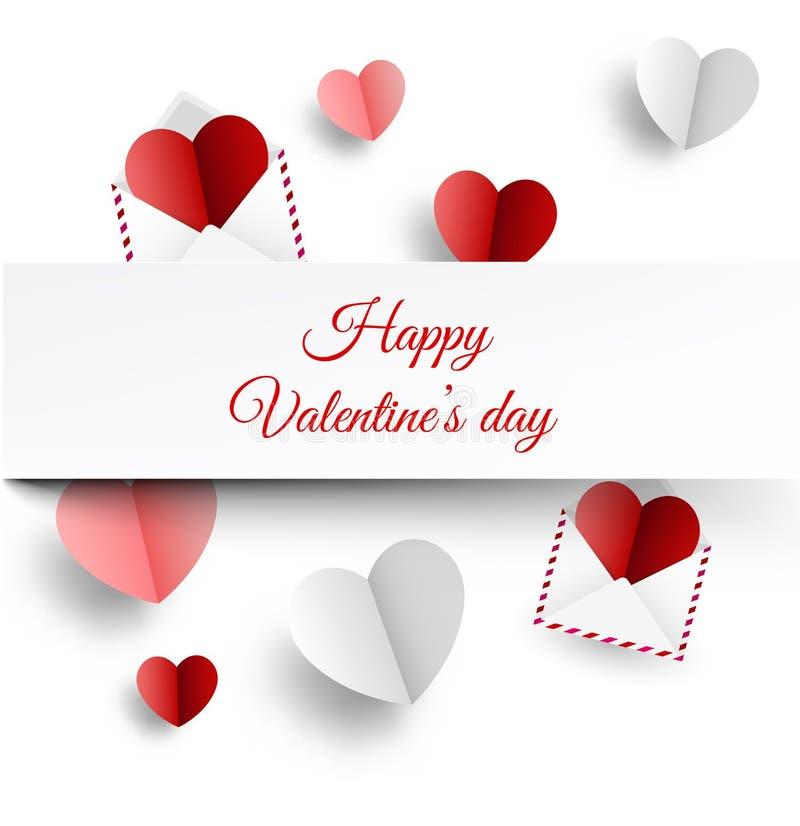 Cartão do ` s do Valentim com letras e corações de papel ilustração stock