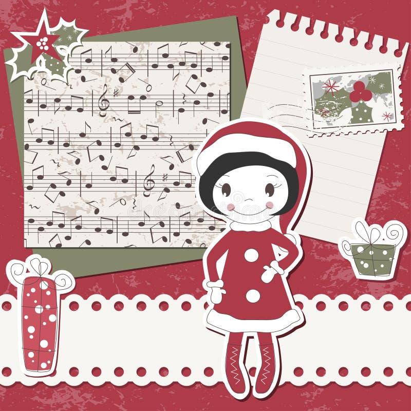 Cartão do scrapbook do Natal do vetor e do ano novo ilustração royalty free