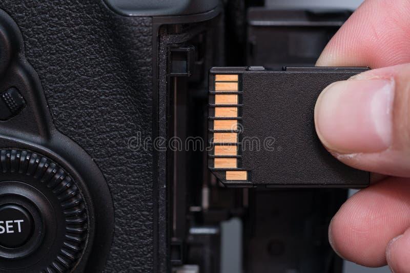 cartão do SD da inserção da mão in camera imagens de stock royalty free