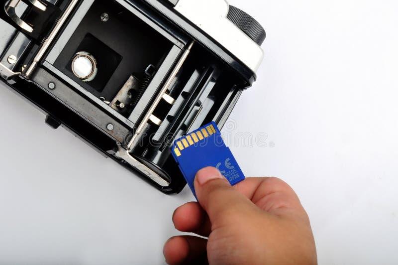 Cartão do SD na câmera 1 do filme fotos de stock