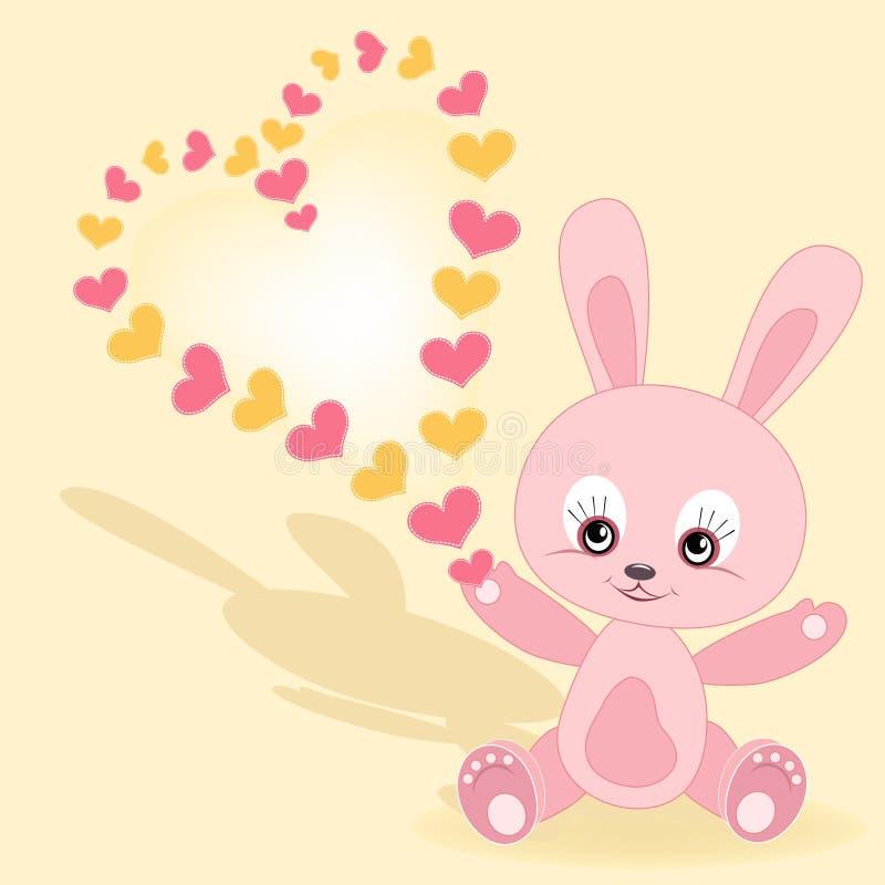 Cartão do Valentim. Coelho do bebê. ilustração stock