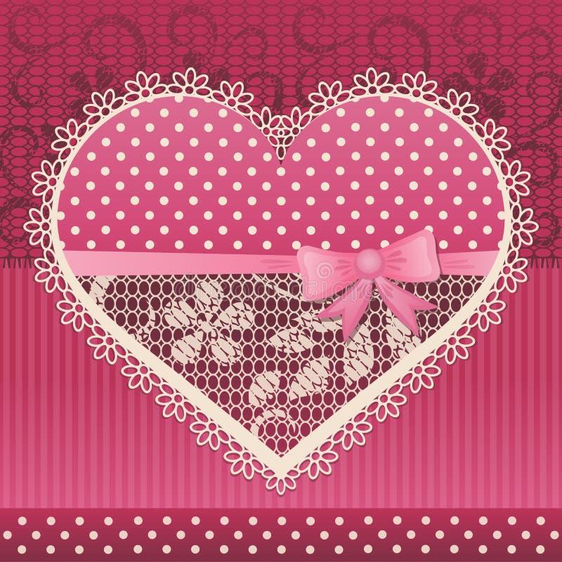 Cartão do Valentim com coração do laço ilustração do vetor