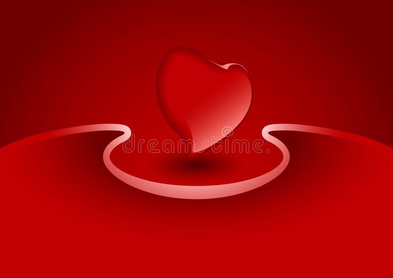 Cartão do Valentim com coração na cor vermelha, illustra do vetor