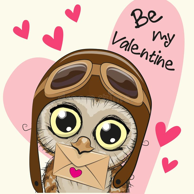 Cartão do Valentim com a coruja bonito dos desenhos animados ilustração stock