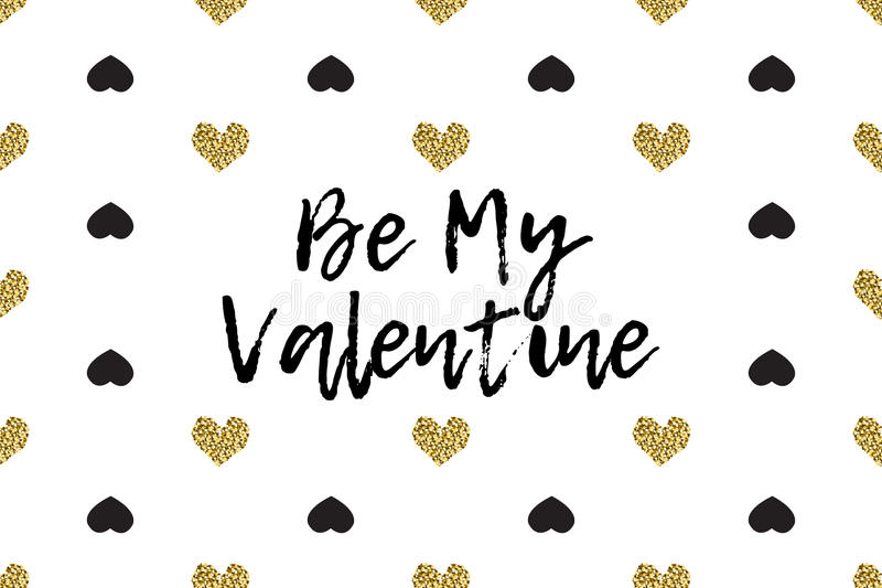 Cartão do Valentim com texto, preto e corações do ouro ilustração royalty free