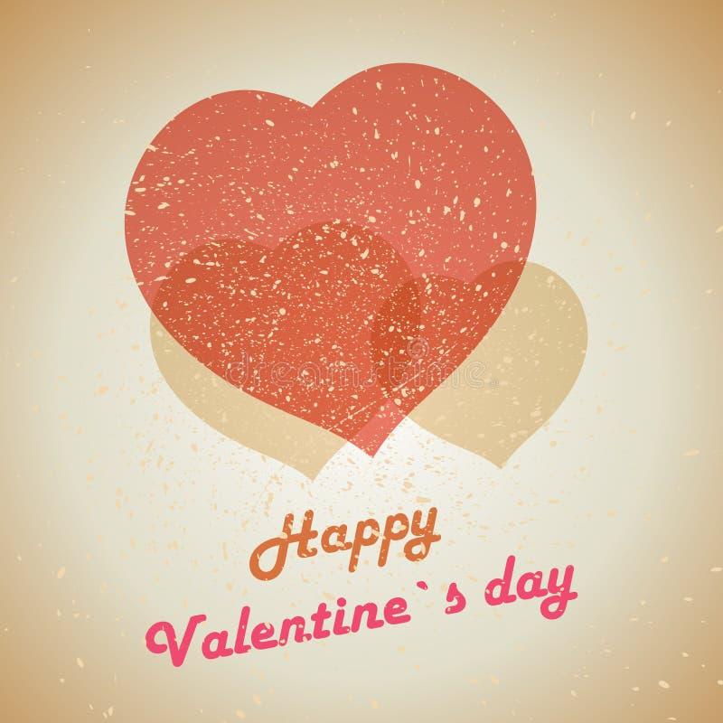 Cartão do Valentim do Grunge com três corações ilustração royalty free