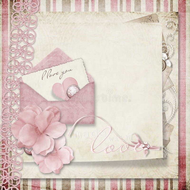 Cartão do Valentim no fundo gasto do vintage ilustração stock