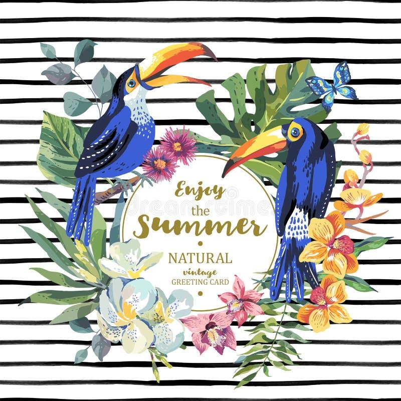 Cartão do verão com pares de tucano, flores exóticas ilustração royalty free