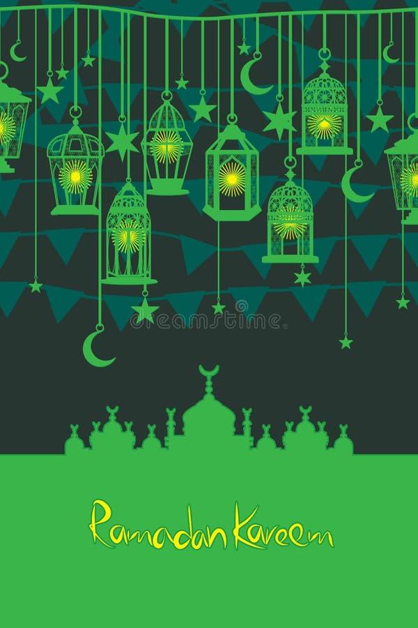 Cartão do vertical do cair da bandeira da lanterna da ramadã ilustração royalty free