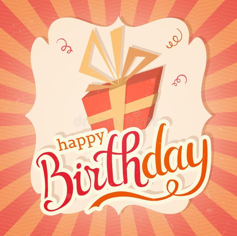 Cartão do vetor do bolo de aniversário com caixa de presente ilustração do vetor